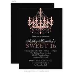 Chic Rose Gold And Black Sweet 16 Birthday Party Invitations