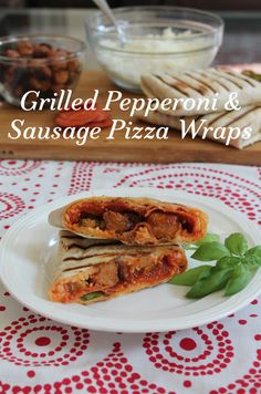 If you love fresh, hot homemade pizza, full of melty cheese and tasty toppings, but time is short, make these grilled pepperoni and sausage pizza wraps! #SundaySupper