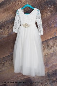 5aa9f9c05629 White Lace Flower Girl Dress, Tulle Long Sleeve Wedding dress, Ball Gown  Length,