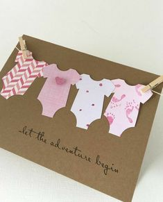 Items similar to Baby Adventure Card, Congratulations Its A Girl, Baby Body Suit Card, Let The Adventure Begin, Baby Banner Card on Etsy - Geschenke. Baby Girl Cards, New Baby Cards, Diy Cards Baby, Diy Newborn Cards, Cards Diy, Tarjetas Diy, Suit Card, Pink Cards, Homemade Cards