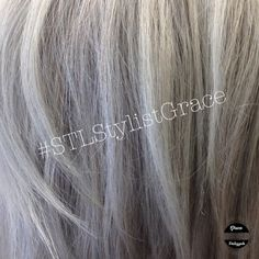 Dimensional gray and silver hair with white and platinum highlights Platinum Highlights, Transition To Gray Hair, Going Gray, Awesome Hair, Silver Hair, White Hair, Girl Stuff, Bob Cut, Beautiful Dolls