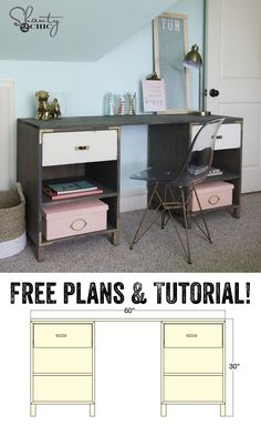LOVE this DIY Desk! Free plans and tutorial at www.shanty-2-chic.com