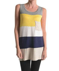 Look what I found on #zulily! Yellow & Navy Color Block Sleeveless Tunic by Emma's Closet #zulilyfinds