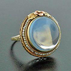 Art Nouveau Cabochon Moonstone Ring, c. 1915
