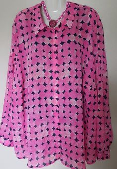 Liz Claiborne Woman Plus Size 5X Pink Button Up Sheer Polyester Blouse Top  #LizClaiborne #ButtonDownShirt #Career