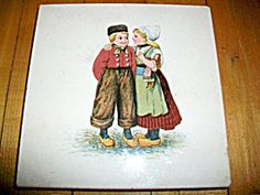 Antique Trivet Dutch Scene Late 1800s Germany