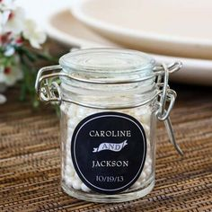 Personalized Glass Favor Jars by Beau-coup