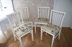 Chairs re-covered with coffee sacks