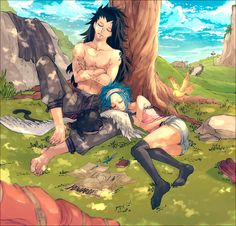 Fairy Tail - Gajeel, Levy and Panther Lily - Sleep