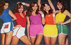 Terry Cloth Shorts in many colors, matching tops and knee high socks too.