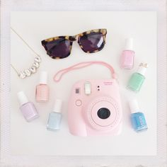 pink polaroid + pastel nail varnish =