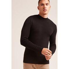 Forever21 Premium Crew Neck Sweater (29 CAD) via Polyvore featuring men's fashion, men's clothing, men's sweaters, black, mens crew neck sweaters, mens knit sweater, mens lightweight sweaters, mens short sleeve sweater and mens crewneck sweaters