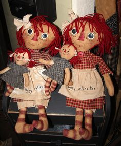 Raggedy Ann's with babies - at Sisters Country Rustics in Ponoka, Alberta. Hand-made by Dianna Michie of Airdrie.