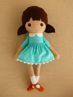 Fabric Doll Rag Doll Girl in Turquoise Blue Polka Dot Dress