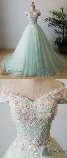 elegant applique wedding dress off the shoulder beading long prom dress tulle evening dress M1110