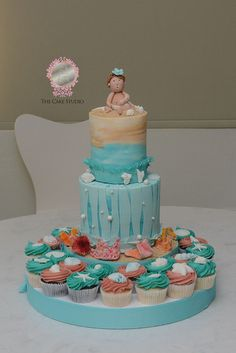 Beach Baby Cake and cupcakes