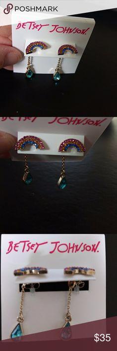 Betsey Johnson rainbow dangling earrings Cute rhinestone multi colored earrings with a dangling blue stone. Betsey Johnson Jewelry Earrings