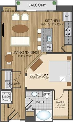 Floor Plans Of Hidden Creek Apartments In 750 sf--would be nice floor plan for a little house.