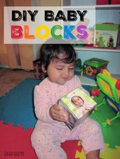 Here's a tutorial of how to make your own baby blocks that you can customize with images of your family or holidays too. Plus fun baby block activity ideas! Infant Activities, Activities For Kids, Make Your Own, Make It Yourself, How To Make, Class Displays, Eco Friendly Toys, Fun Baby, Baby Blocks