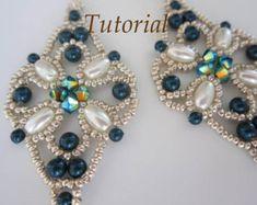 PRF tutorial beaded earrings Bow_Swarovski by BeadsMadness on Etsy