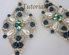 PRF tutorial beaded earrings Bow_Swarovski by BeadsMadness on Etsy