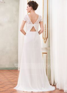 A-Line/Princess Scoop Neck Sweep Train Chiffon Wedding Dress With Beading Sequins Cascading Ruffles (002052704)