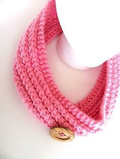 Button Cowl in Soft Pink  by AllAboutTheButtons, $19.00 USD