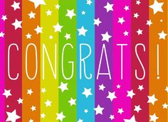 """Rainbow stripes and white stars share your """"Congrats! Shop for Congratulations Greeting Cards today! Happy Birthday Tag, Birthday Tags, Happy Birthday Images, Birthday Quotes, Birthday Greetings, Birthday Wishes, Congratulations Greetings, Congratulations Grandma, Congrats Cards"""
