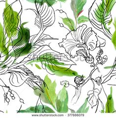 Seamless Pattern Hand Drawn Watercolor Artwork Flowers and Doodle Leaves Jungle  - stock photo