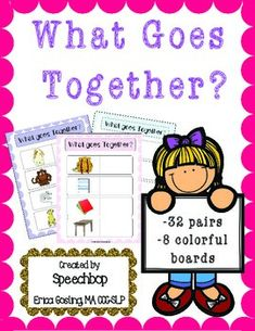"""This """"What Goes Together"""" activity is perfect for:-teaching vocabulary-helping students classify-improving language skills -increasing comprehension skills! Keeps children engaged through movement as they classify, sort and choose the appropriate objects to place on the boards."""