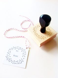 """Confetti Dots To / From Gift Tag Stamp - 2"""" x 2"""" - Wood Mounted, Handle & Eco-Friendly Rubber by ChristineMarieB, $27.00"""