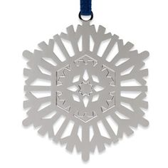 1972 Snowflake Christmas Ornament - The Met Store.  2 1/2'' diam. Solid brass electroplated with non-tarnishing silver finish.