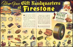 1950 vintage Christmas ad for Firestone Tires -1061