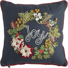 Chalkboard charm meets woven softness in our eye-catching pillow. This distinctive design features beading, embroidery and dimensional appliques, all trimmed neatly in red piping.