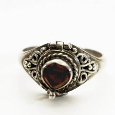 Vintage Poison Ring with Heart Shaped Red Garnet Stone, Sterling Silver Chamber Ring, Girls Size 6.75 (V517) on Etsy, Sold