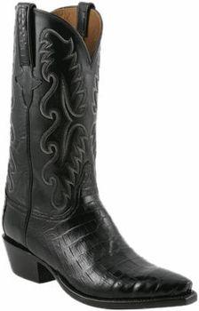 82147efde7a Mens Lucchese Classics Black Ultra Caiman Belly Hand-Made Cowboy Boots  E2147 Caiman