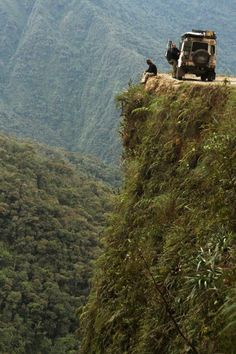 The world's most dangerous road from La Paz, Bolivia across the Andean Cordillera into the Amazon lowland