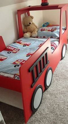Awesome Room For A Little Boy, The Fire Truck Bed Design - Onechitecture Truck Toddler Bed, Diy Toddler Bed, Toddler Rooms, Toddler Beds For Boys, Toddler Car, Kids Furniture, Furniture Design, Bedroom Furniture, Unique Furniture