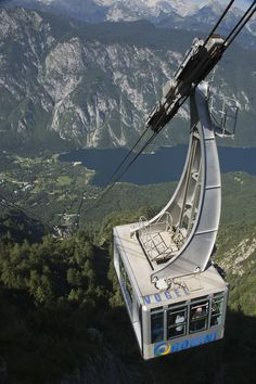 A Gondola arriving at the top of Vogel Mountain, the 1922 m high mountain part of the southern Julian Alps and Triglav National Park