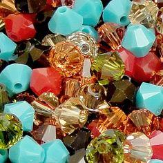 Swarovski Crystal, 4mm Bicone, Hippie Chic Mix