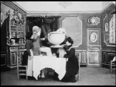 A Fantastical Meal (1900) - Georges Melies | Méliès shows us that going to bed isn't the only mundane act for which he can conjure surprises and difficulties.