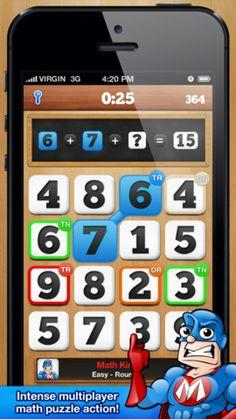 Mathfeud til iphone er en fin matematik app. Her spiller man lidt ligesom i ruzzle mod en modstander på tid. Man skal klare så mange regnestykker som muligt. Nogle tal giver flere point. Man kan vælge sværhedsgrad.  Den kan selvfølgelig også bruges på ipad, men man skal finde den under iphone apps, ellers kommer der en kids mathfeud op. Det er gange stykker, men også en brugelig app.