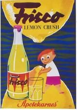 Original vintage poster FRISCO LEMON CRUSH DRINK BOY 1956