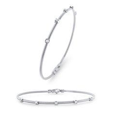 14K White Gold Diamond Flex Bangle Bracelet