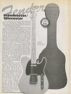 Fender Broadcaster/Telecaster Article By Greg by MusicSellerz Fender Electric Guitar, Fender Stratocaster, Fender Guitars, Guitar Shop, Music Guitar, Playing Guitar, Guitar Rack, Vintage Advertisements, Vintage Ads