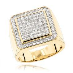 Designer Pinky Rings Mens Diamond Gold Ring by Luxurman 1.63ct 14K Gold