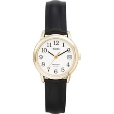 Keep track of time with this women's Timex Core Easy Reader. With a big, white dial, and easy to read black numerals and hands, this black leather watch is perfect for a busy woman on the go