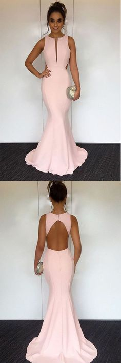 Mermaid Round Neck Sweep Train Pearl Pink Open Back Prom Dress PG456 #prom #evening #dress #party #fashion #pgmdress #homecoming #bridesmaid