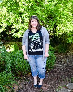 What I Wore: Hangin' Tough (Hailey is wearing the Lane Bryant Destructed Weekend Capri, Torrid Grey Denim Shirt and NKOTB Tee, and Crocs Stretch Sole Flats) - DivineMrsDiva.com #LaneBryant #LaneStyle #Crocs #Torrid #TorridInsider #psblogger #plussizeblogger #styleblogger #plussizefashion #plussize #psootd #SpringStyle #SummerStyle #denim #plussizecasual