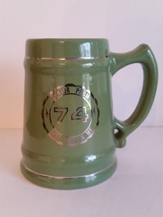 "Prom 1974 Keepsake - Green Ceramic Beer Mug | Vintage German Stein | Class of '74 Memorabilia | ""Just You n Me"" by Chicago 